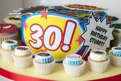 Marvel Themed Cake & Cupcakes (www.cupcakemegs.com) Tags: birthday cake cupcakes comic spiderman superman batman 30th hulk marvel