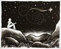 Wishing (neilbrigham) Tags: woman illustration stars landscape star blackwhite nightime woodcut scratchboard shootingstar