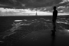 Looking out to sea (tabulator_1) Tags: liverpool blackwhite crosby antonygormley anotherplace crosbybeach