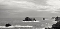 Broken Coast XIX, Cantabria, Spain (Gonzalo Aja) Tags: sea blackandwhite bw costa naturaleza seascape blancoynegro broken nature clouds islands coast mar waves shoreline nubes olas islas cantabria quebrada cantabrico liencres cantabric somocuevas d3000
