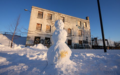 A snowman in dog territory (-AX-) Tags: winter dog pee snowman montral bonhommedeneige griffintown lesudouest ruesmith
