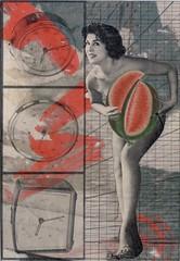 Watermelon Time (kurberry) Tags: clock collage watermelon pinup cutpaste cutandpaste vintageephemera collaborativecollage