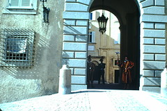 Italy- 1954 (126)-Entrance of the papal Palace w Swiss Guards Castel Gandolfo- Rome (foundslides) Tags: italy italia europe europa 1953 1950s irmalouisecarter foundslides kodak kodachrome slide slides photos photo pictures pics pix retro vintage tourist tourists 50s analog slidecollection irmarudd
