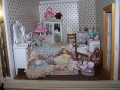 2 sweet sisters in Victorian bedroom setting in my dolls house. (sheila32711) Tags: sisters bedroom victorian 112 dollshouse