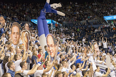 Cheering Crowd of College Students at BYU Men's Basketball Game (aaronrhawkins) Tags: signs game college students basketball jump crowd scream mens banners noise yell reaction distraction freethrow giantheads coeds brighamyounguniversity theroc marriottcenter aaronhawkins