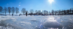 Ice Panorama (Alex Demich) Tags: blue trees winter sky people panorama sun white cold ice nature water vintage frozen pond shine bright outdoor skating frosty skaters freeze skate skater activity shimmer glisten