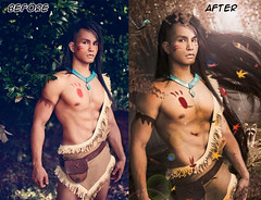 Before and After - Pocahontas (ArtNinjaph) Tags: trees bird forest photomanipulation photoshop cosplay indian manipulation disney raccoon beforeandafter tribe abs pocahontas behindthescene photocomposition artninja junkerscosplay artninjaph