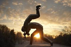 Vigeland (Pivi ) Tags: sunset sculpture snow cold oslo norway statue frognerparken statuepark vigeland january2016