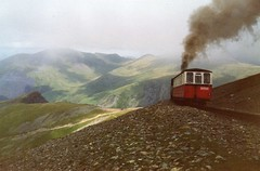 Snowdon light railway, Wales (rossendale2016) Tags: rack light wales high railway tourist passengers elevated pinion mountain snowden snow dogs top smoke transport line summit transporting walking climb hiking hard slippery slippy slipping winter dangerous open restaurant cafe safety expensive cheap reasons holiday tourism steel coke destination coal iconic steep ratchet
