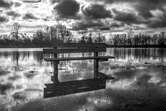 Lonely bench (gopper) Tags: lechlade wiltshire gloucestershire swindon flood deluge rain thames nikon d5200 riverthames ngc colorsofthesoul bw oxfordshire tamron uk british monochrome bench cloud cloudy storm floods
