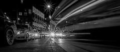 Velocity @ Amsterdam (PaulHoo) Tags: city longexposure light urban blackandwhite bw holland cars netherlands monochrome amsterdam contrast speed movement nikon traffic low transport nik headlight velocity mokum 2016 colorefex d700