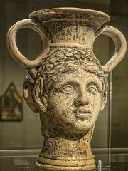 Kantharos (wine vessel) with satyr and maenad heads Roman Britain 1st century CE Ceramic with pigment (mharrsch) Tags: seattle england cup ceramic washington ancient wine drink roman britain satyr myth seattleartmuseum kantharos 1stcenturyce mharrsch