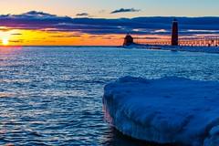 Icy Sunset (Mi Bob) Tags: water us unitedstates michigan springlake grandhavenpier