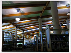 Beams And Dreams (MPnormaleye) Tags: architecture moody shadows library patterns perspective wideangle books ceiling filter utata iphoto shelves