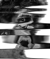 Scan 48: Found in Transmission (A Durst Photo) Tags: portrait people selfportrait eye art face hair scanner bodypart typeofphotography alternativrprocess