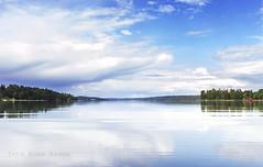 Fryken (anek07) Tags: blue white lake reflection green water clouds landscape nikon forrest landskap fryken annaekman