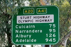 Road sign. Wagga Wagga to Adelaide Australia. (Theresa Hall (teniche)) Tags: trip sign highway roadtrip journey adelaide destination roadsign narrandera a20 a41 albury waggawagga sturthighway culcairn olympichighway