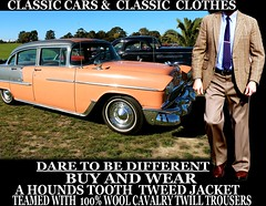 Classic cars ver 3 Tweed - Twill clothes  part 9 (Make Oxygen... Kill Co2...Plant More Trees) Tags: auto newzealand christchurch usa cars car canon vintage clothing classiccar pants outdoor sydney australia nelson auckland american 80s nz wellington 70s vehicle dunedin 1970s kiwi 1980s napier cavalry tweed houndstooth kiwiana twill tweedjacket tweedcoat cavalrytwilltrousers cavalrytwill