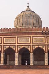 A Man at the Mosque   Jama Masjid   Delhi   India (Hadi Zaher) Tags: new travel india building architecture worship arch delhi religion perspective mosque dome masjid shah jahan jama mughal