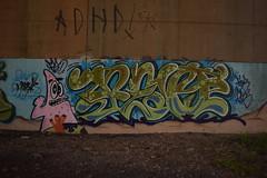 PEO (TheGraffitiHunters) Tags: street bridge pink orange brown white black green art coral underpass graffiti woods colorful paint purple cement tan patrick spray spongebob peo