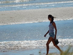 Striding on the Sand (mikecogh) Tags: woman beach bag shore tall purpose henleybeach striding