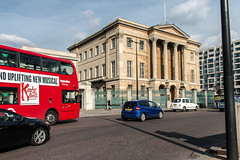 Number One, London (Keith in Exeter) Tags: road city red england bus london heritage cars westminster museum corner traffic outdoor townhouse taxi capital roundabout historic busy mansion wellesley dukeofwellington hydeparkcorner listedbuilding hectic gradei aristocratic apsleyhouse