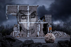 Demolition (Michel Couprie) Tags: streetart france wall night clouds composition canon eos demolition michel compositing urbex c215 couprie