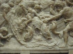 Some kind of sea struggle (rasputina2) Tags: sculpture fish art museum losangeles relief dolphins gettycenter