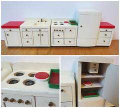Flea Market Finds - Dollhouse Furniture (Foxy Belle) Tags: white kitchen set vintage miniature wooden market furniture retro nails flea simple chunky dollhouse