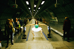 Underground ballet (deepstoat) Tags: london film zeiss 35mm candid nutcracker tutu contaxt3 idontreallyknowenoughaboutballettomakeadecentpun