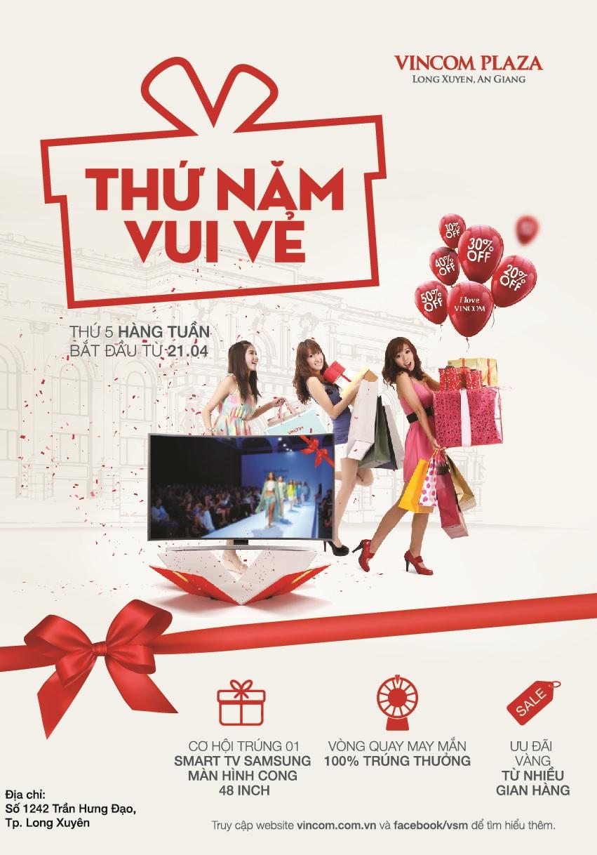 Ưu đãi vàng 'Thứ Năm Vui Vẻ' tại Vincom Plaza Long Xuyên, An Giang