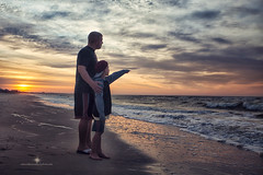 (Rebecca812) Tags: ocean morning travel family boy vacation portrait people sun man love beach water look sunrise canon point see togetherness sand moments dad waves child candid father happiness son bond strength dramaticsky twopeople enjoyment contentment dauphinisland realpeople armaround rebecca812