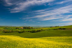 Spring in Tuscany (jfusion61) Tags: flowers sky italy field yellow clouds landscape spring nikon farm tuscany siena terme chianciano 2470mm d810