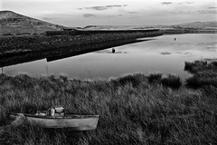HDR Redbrook in Black and White (J @BRX) Tags: uk england sky blackandwhite reflection water clouds boat still noir peace yorkshire hills manmade hdr magichour huddersfield redbrookreservoir