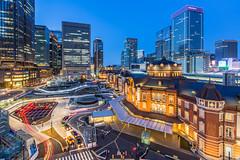 Tokyo Station at Blue Hour  (Sharleen Chao) Tags: longexposure japan night canon tokyo cityscape   bluehour  tokyostation metropolitan  capitalcity 1635mm kitte locallandmark lighttracks    5dmarkiii