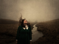 The River Of Secrets (Maren Klemp) Tags: sky woman mist selfportrait painterly color texture nature water field fog clouds river outdoors movement stream dress wind surreal windy expressive symbolic fineartphotography darkart evocative fineartphotographer