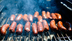Vegetarians, Look away now (georgeplakides) Tags: smoke bbq charcoal sausages greekeaster