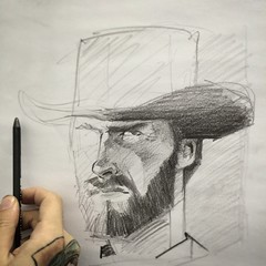 Clint Eastwood sketch (Works by Issao Bazolli) Tags: cinema man art illustration pencil movie beard sketch drawing draw lpis ilustrao clinteastwood