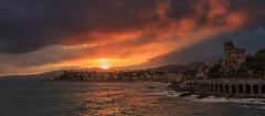 Sunset is always better at the sea (Enrico Cusinatti) Tags: sunset sea costa clouds rocks tramonto mare genoa genova castello scogli castelluccio enricocusinatti