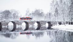 A speck of orange (ohrn.erik) Tags: winter snow cold bus river vinter december sweden karlstad sverige snö buss värmland varmland
