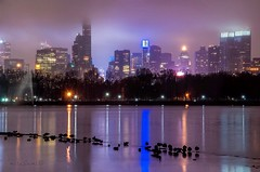 View of Foggy night Midtown Manhattan, shot taken from Jacqueline Kennedy Onassis Reservoir Central Park, New York City. (mitzgami) Tags: nyc newyorkcity longexposure nightphotography landscape nikon flickr centralpark manhattan jacquelinekennedyonassisreservoir nikonphotography d7000