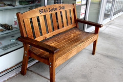 For Customers Only (ruthlesscrab) Tags: canada bench bc mapleridge benchmonday stagbarbershop