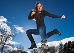 Happy Love to Leap Thursday! (Flickr_Rick) Tags: winter woman snow cold girl outside jump jumping breanne jumpology