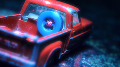 In my mind I'm going to Carolina (mitchell_dawn) Tags: blue red ford toy 60s buttons pickup button 1960s sixties toycar dutchangle diecast matchboxcars flickrfriday macromondays