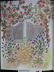 Jardins  colorier de Maud Taron (First ditions) (delphinecingal) Tags: colors couleurs coloring coloriage pastelssecs maudtaron feutrespitt zendessin firstditions jardinscolorier