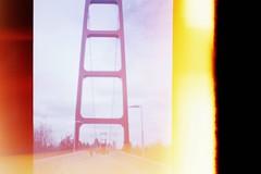 am river walking bridge - sac state / (luustra) Tags: california camera film toy lomography sacramento