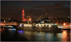 Cruise Ship MS Magellan ...   Cruise & Maritime Voyages.    Arriving. (Aquarius15) Tags: city cruise trees winter sky water skyline architecture clouds reflections boats waves belgium ships antwerp christmastime arriving cruisemaritimevoyages riverthescheldt cruiseshipmsmagellan