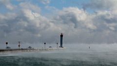 Whitby Lighthouse at minus 20 (Sandra_Gilchrist) Tags: lighthouse mist cold ice pier freezing whitby lakeontario icefog whitbyontario whitbyharbour whitbyon sandragilchrist minus20degreescelcius