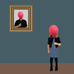 Family Resemblance - Explore Position No. 366 [February 7, 2016] (lawroberts) Tags: blue portrait girl azul balloons child ballon balloon surreal nia bleu fille globo
