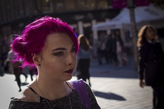 Magenta (Leanne Boulton) Tags: life street city uk pink light shadow portrait people urban woman sunlight color colour detail texture girl face fashion female canon hair scotland living colorful natural bright humanity bokeh outdoor expression glasgow candid young magenta culture streetphotography scene depthoffield human shade portraiture 7d backlit colourful 40mm society tone facial catchycolour contrejour candidportrait candidstreetphotography colourstreetphotography ef40mmf28stm
